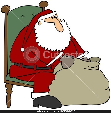Santa Looking In His Gift Bag stock photo, This illustration depicts Santa Claus in a chair and looking into his gift bag. by Dennis Cox