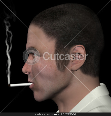 man smoking cigarette stock photo, Man smoking and cigarette smoke 3d illustration. by sirylok
