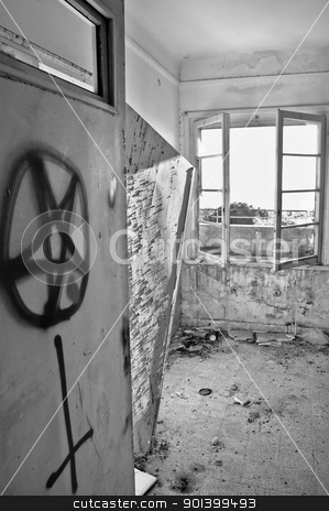 satanic symbols graffiti stock photo, Satanic symbols graffiti on the door of an abandoned house. Black and white. by sirylok