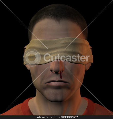 tortured blindfolded man stock photo, Tortured blindfolded man with bleeding nose. 3d illustration. by sirylok