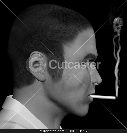 smoking man and smoke skull stock photo, Man smoking a cigarette with skull forming through the smoke. 3d illustration. by sirylok