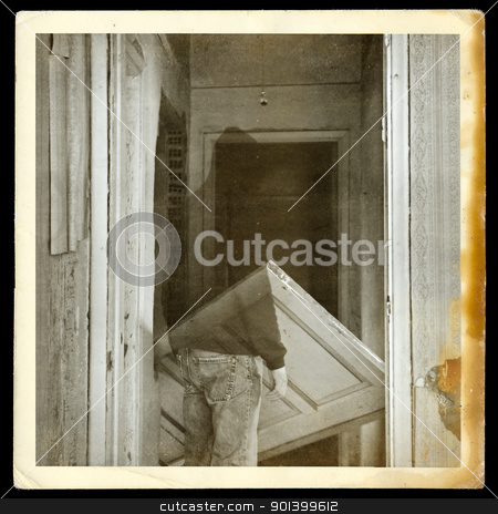 vintage photo of ghost in haunted hallway stock photo, Vintage burned photograph of ghost in haunted hallways of an abandoned house. by sirylok