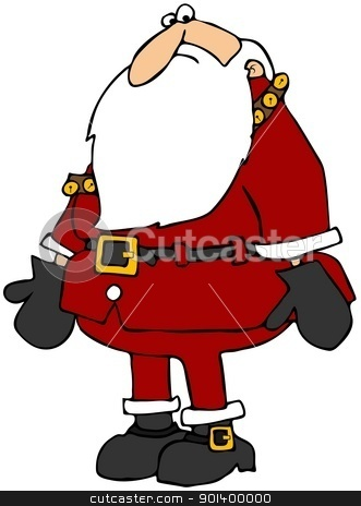 Santa Looking Scared stock photo, This illustration depicts Santa Claus with arms down looking afraid. by Dennis Cox