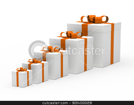 christmas gift box white orange ribbon stock photo, 3d christmas gift box white orange ribbon by d3images