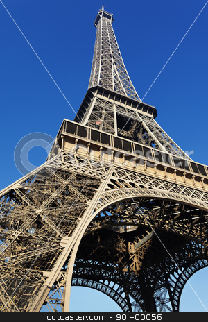 Eiffel Tower stock photo, The Eiffel tower with blue sky in Paris by vwalakte