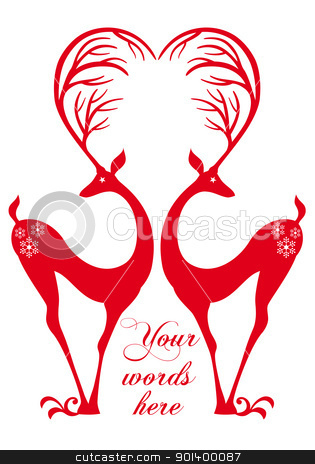 red deers with heart, vector stock vector clipart, red deers with heart antlers. vector background by Beata Kraus