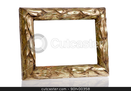 Golden photo frame  stock photo, Golden photo frame on top of white reflective surface. by Homydesign