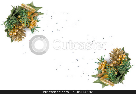 Holiday frame border stock photo, Holiday frame border with Christmas tree branch ornament as winter decoration isolated on white background . by Homydesign