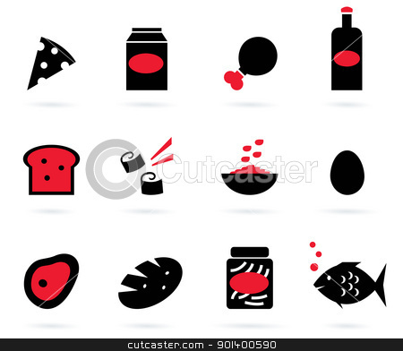 Retro food icons set isolated on white ( black, red ) stock vector clipart, 12 food items. Elegant group of various food vector objects.  by Jana Guothova
