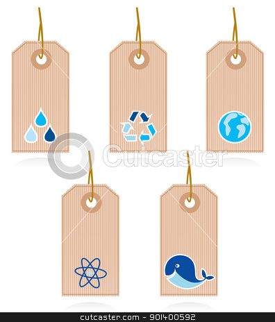 Collection of vector blank recycle and water labels isolated on  stock vector clipart, Vector set of blank recycle & water labels.  by Jana Guothova