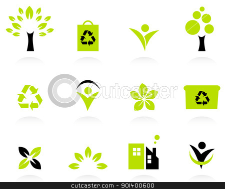 Ecology, nature and environment icons set isolated on white stock vector clipart, Bio, natural and ecological icons set. Vector  by BEEANDGLOW