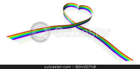 Rainbow coloured heart shape ribbon  stock vector clipart, Illustration of a rainbow coloured ribbon forming a heart shape. by Christos Georghiou