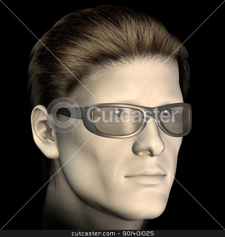 man with sunglasses illustration stock photo, Man with sunglasses on black background. 3d illustration. by sirylok