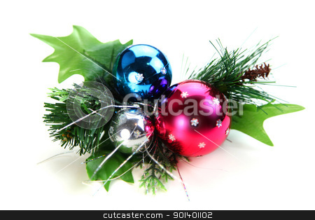 Christmas ornament stock photo, Christmas ornament with three Christmas balls on white background by Sreedhar Yedlapati