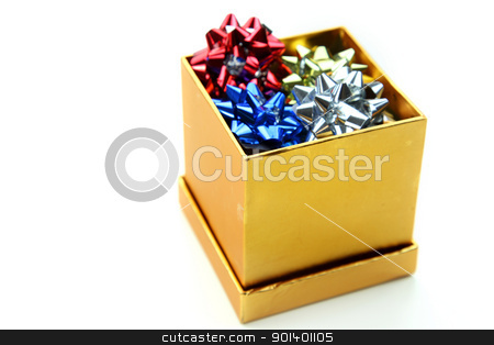 Box of bows stock photo, Box of small bows isolated on white background by Sreedhar Yedlapati