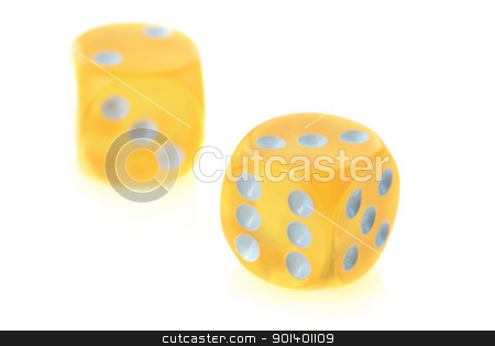 yellow dice on white background stock photo, Close up shot of yellow dice on white background by Sreedhar Yedlapati