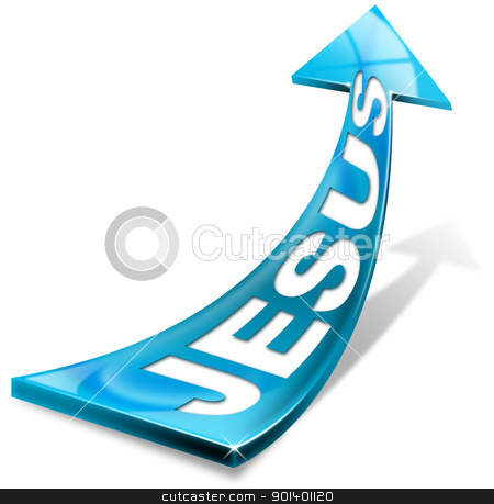 Jesus blue arrow on white stock photo, Jesus written on the blue arrow and shadow on a white background  by catalby