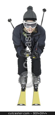 skiing woman stock photo, frontal shot of a dark dressed skiing woman isolated on white by prill