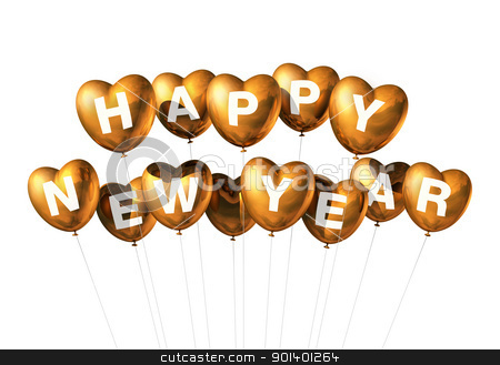 gold happy new year heart shaped balloons stock photo, gold Happy new year heart shaped balloons isolated on white by Laurent Davoust