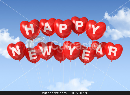 happy new year heart shaped balloons stock photo, red Happy new year heart shaped balloons floating in a blue sky by Laurent Davoust