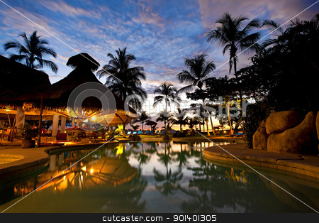 Costa Rica resort stock photo, Evening picture of the swimming pool area on a resort by Kjersti Jorgensen