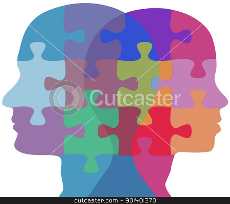 Man Woman face people problem puzzle stock vector clipart, Man and Woman profiles face opposite ways in couple problem jigsaw puzzle by Michael Brown