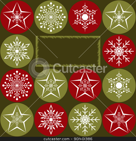 Christmas greeting card stock vector clipart, Christmas greeting card with snowflakes and star on red green background by meikis