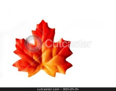 Autumn Leaf stock photo, Orange red colorful autumn leaf on white background by Henrik Lehnerer