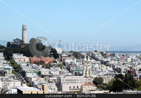 San Francisco Coit Tower stock photo, Coit Tower viewed from Lombard Street in San Francisco, California by Henrik Lehnerer