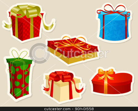 Christmas Presents stock vector clipart, Beautiful Christmas Presents stickers set. by wingedcats