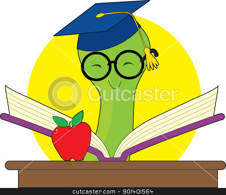Worm Book stock vector clipart, Green bookworm with a mortar cap reading a book on a desk with an apple. by Maria Bell