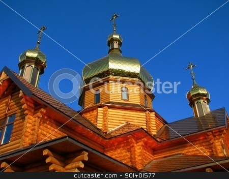 Church stock photo, The timber Orthodox Church of St. Prince Peter and Fevronia by Velza19880