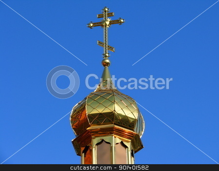 The dome stock photo, The timber Orthodox Church of St. Prince Peter and Fevronia by Velza19880