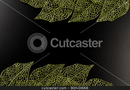 Green leaf frame stock photo, Green leaf frame forming an abstract frame over black background. by Homydesign 
