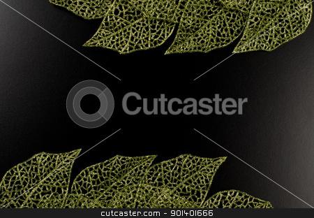 Green leaf frame stock photo, Green leaf frame forming an abstract frame over black background. by Homydesign