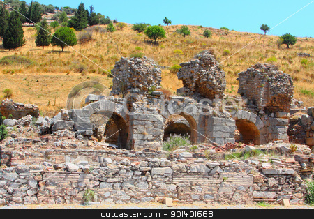 Ruins of the Roman bat stock photo, Ruins of the Roman baths in a city the Efes, Turkey by Artamonov Yury