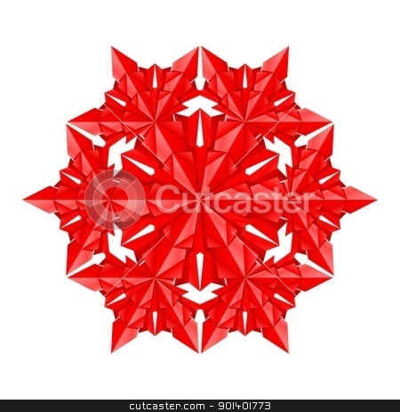 Red paper snowflake stock photo, Red paper snowflake on a white background by dvarg