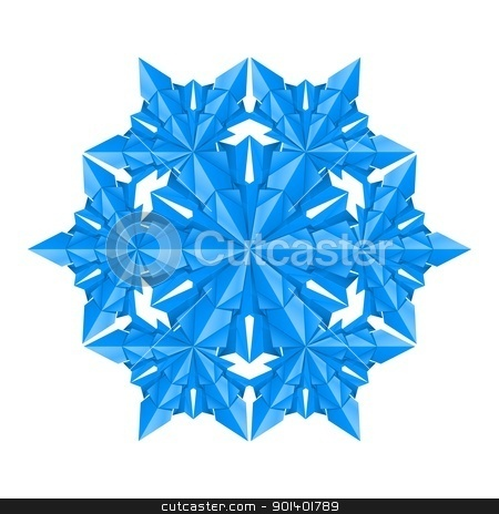 Blue paper snowflake stock photo, Blue paper snowflake on a white background by dvarg