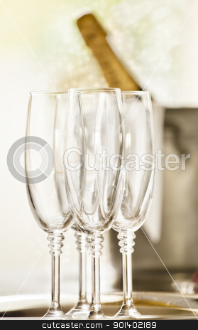 Shinny Glasses of Champagne stock photo, Close up photograph of champagne glasses by mpessaris