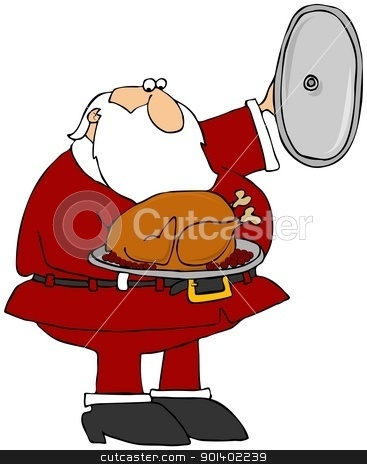 Santa Presenting A Cooked Turkey stock photo, This illustration depicts Santa Claus holding a cooked turkey on a platter. by Dennis Cox