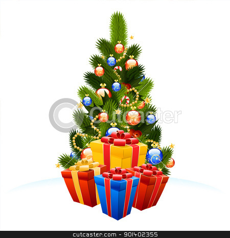 Christmas Tree with gift boxes stock vector clipart, Christmas Tree with gift boxes isolated on white background by Vadym Nechyporenko