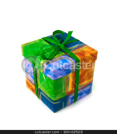 Gift box stock photo, Gift box with green strip by vtorous