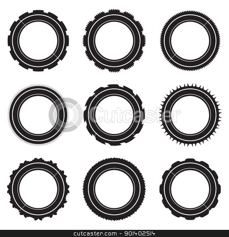 Rubber tyre collection stock vector clipart, Black car tyre selection with different treads and patterns by Michael Travers