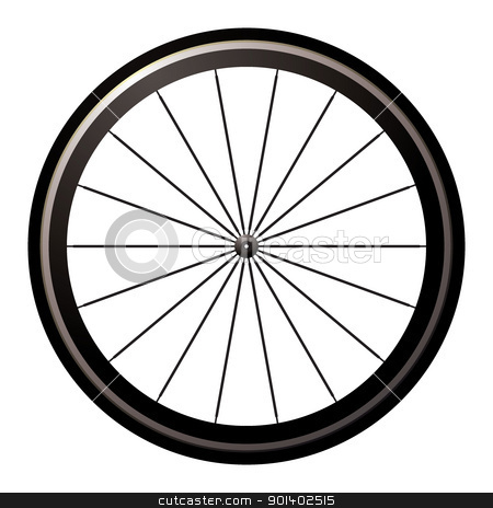 Bike road wheel stock vector clipart, Aerodynamic front road or time trial wheel with tyre by Michael Travers