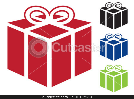 Present gift icon stock vector clipart, Web icon for gift or present in simple colours by Michael Travers
