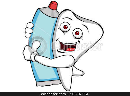 Tooth cartoon with tooth paste stock vector clipart, Vctor illustration of tooth with tooth paste by Surya Zaidan
