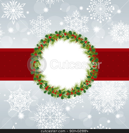 Christmas greeting card stock vector clipart, Christmas greeting card with snowflakes and star on silver background by meikis