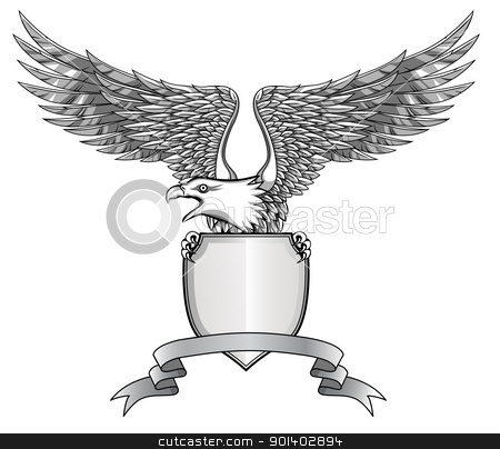 Eagle with emblem and shield stock vector clipart, Eagle with emblem and shield by Surya Zaidan