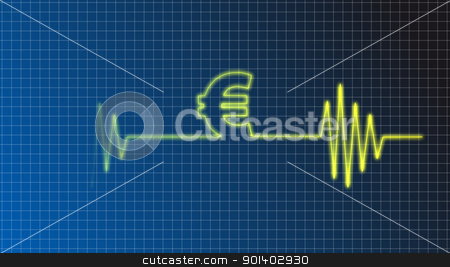 euro beat stock photo, ecg curve with euro symbol by J?