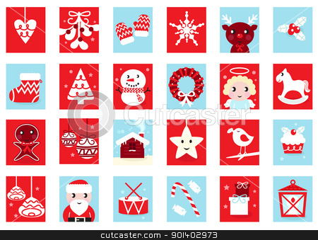 Advent calendar, retro christmas icons isolated on white stock vector clipart, Christmas icons and design elements - red and blue. Vector cartoon Illustration.  by Jana Guothova